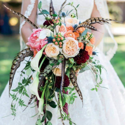 Feathered Flower Bouquet for Bride in Asheville Wedding