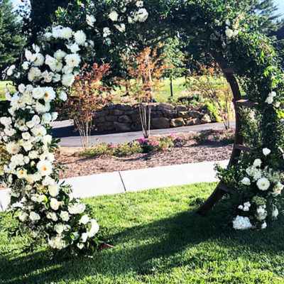 Arching Ceremonial Roses and Dahlia Archway